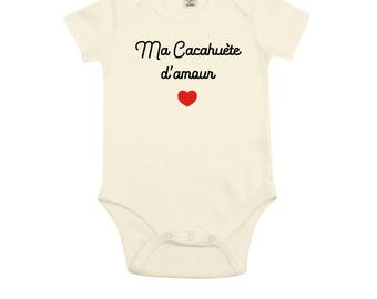 B01W organic Bodysuit, my love peanut, Bodysuit with birthstone, gift, baby Christmas gift, gift, message, nickname Bodysuit, baby clothes