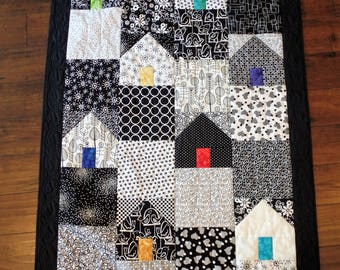 Quilt, Wall hanging, Houses, Original Design Art Quilt, , Black and White, Quiltsy Handmade