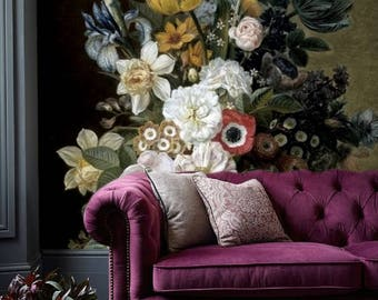 Dutch dark vintage floral art removable wallpaper still life with flowers painting temporary wall mural self adhesive peel and stick # 95