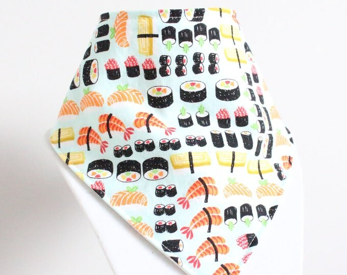 Featured listing image: sushi fabric bandana style drool bib