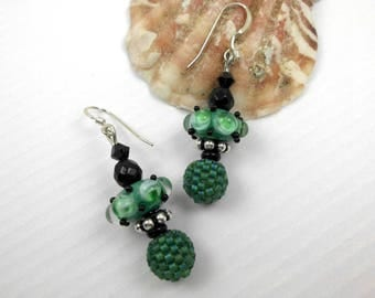 Handmade lampwork earrings, ooak lampwork earrings, artisan dangle earrings, headpin earrings, statement earrings