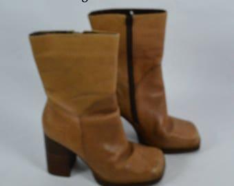 1970s Style Vintage Candies Beige Tan Platform Boots, Platform Boots, 70s Boots, 1970s Boots, Leather Boots, Vintage Boots, Candies Boots