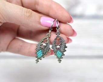 Gray earrings leaf drop earrings girlfriend gift-for-coworker birthday jewelry gifts-for-sister seed bead earrings beadwork earrings boho