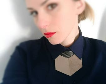 Pale brown suede and Leather shirt necklace,unique collar accessory,unisex bow tie alternative, statement necklace, bold necklace, shirt tie