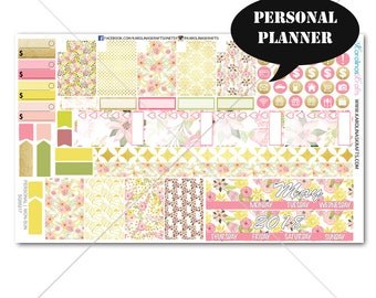 50% OFF Blush Pink Gold Floral MONTHLY Planner Kit / Personal Planner Stickers / Monthly Sticker Kit #SQ00217-Personal