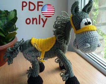 Crochet pattern - Mustang amigurumi horse animal (English)