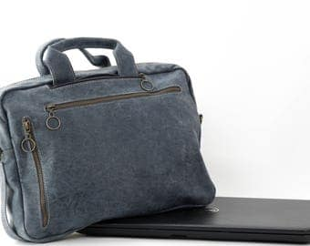 Grey Leather Bag, Leather Crossbody Bag, Unisex Laptop Bag, Leather Backpack, Convertible Bag, Designer Leather Bag, Up to 15.6'' Laptop