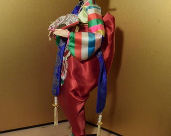 Large Vintage Korean Doll Red Hanbok With Folding Fan 20 Inches Tall