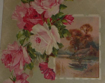 Pretty Pink Roses and Scene Antique Birthday Postcard