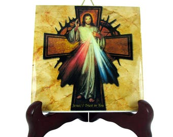 Catholic gifts Jesus Christ of Divine Mercy with cross collectible ceramic tile religious gift idea holy art christian gifts