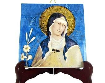 St Clare of Assisi - religious gifts - religious icon on ceramic tile - holy art - catholic saints serie - Saint Clare - Santa Chiara