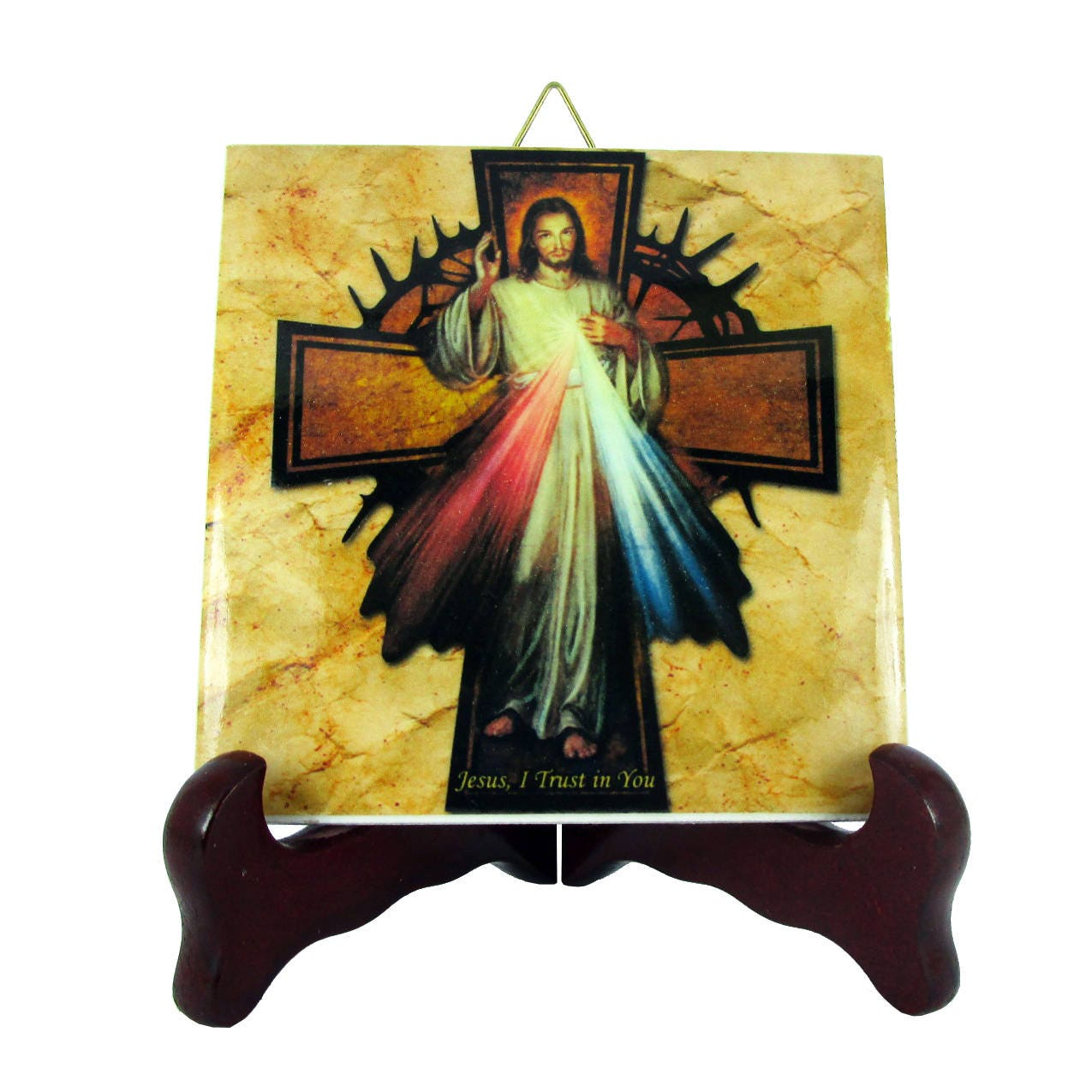 Sugar skull calavera mexicana wall hanging ceramic tile day of catholic gifts jesus christ of divine mercy with cross collectible ceramic tile religious gift idea holy dailygadgetfo Choice Image