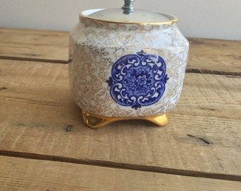 Vintage 1920s James Kent Golden Osaka 6363 Tea Caddy / Biscuit Barrel,  Made in England, Gold & Flow Blue Transferware, Housewarming gift