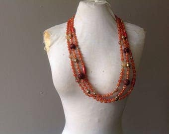 Vintage Avon Necklace / Long Beads Beaded Necklace / FREE USA Shipping