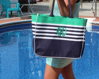 Large Monogrammed Tote Bag/ Beach Bag / Diaper/ Extra Large Bag!