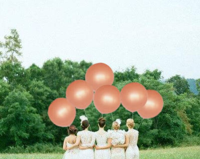 "Rose Gold Balloon 30"" 6 Pack, Round Rose Gold Balloon, Giant Round 30 inch Rose Gold Balloons, Huge Rose Gold Balloon"