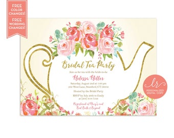 Bridal Shower Tea Party Invitation - Garden Tea Party Wedding Shower - High Tea Invite - Bridal Tea - Printable - LR1050IV