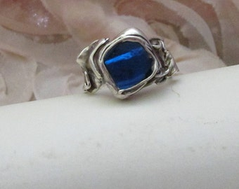 Upcycled blue glass set in fine silver ring