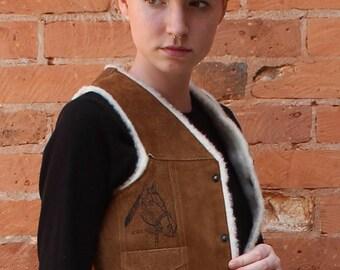 Vintage 1970s Mexican Leather Vest