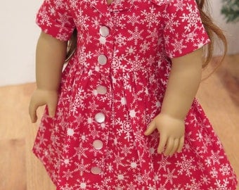Ready to Ship! 18 Inch Doll 1950s Red & Blue Shirtwaist Dresses - Historical Christmas Snowflake Doll Dress - American Made Girl Doll Dress
