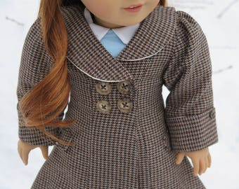 "Ready to Ship! 1940 18"" Doll Coat - Fully Lined Brown Houndstooth Doll Coat - American Made 18 Inch Doll Coat - Historical Doll Clothes"