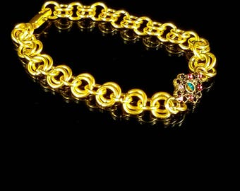 Gold Chain Bracelet, Gold Chainmail, Gold Chain Ring Bracelet, Rhinestone Flower Bracelet, Flower Bracelet, Chainmaille Bracelet, Chainmail