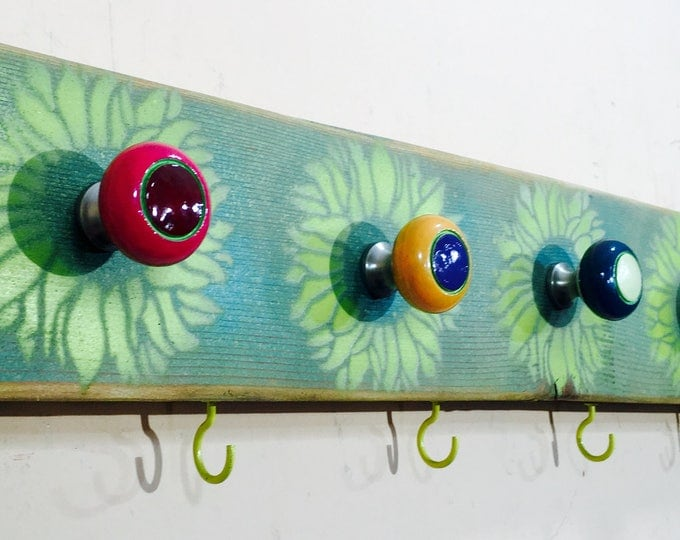 Farmhouse decor /reclaimed wood art /wall coat rack/ hanging boho makeup organizer /jewelry storage sunflowers 5 hand-painted knobs 4 hooks