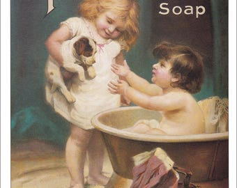 victorian children bathing puppy dog boy girl bath tub cute kitsch print vintage Pears Soap advert ad 8.5 x 11.5 inches