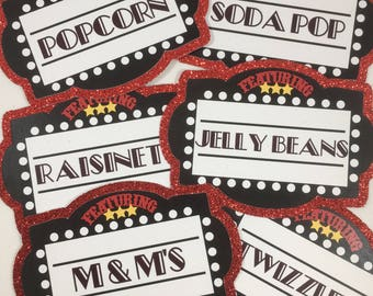 Movie Night Party Label Cards - Set of 6   Food Labels   Candy Buffet Labels   Food Tags   Place Cards