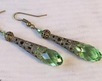 AUGUST BIRTHSTONE EARRINGS Crystal Earrings Absinthe Fairy Earrings PERiDOT Earrings Filigree Earrings by SweetDarknessDesigns