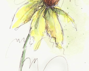 Original Watercolor Cone Flower Art Painting Yellow Pen and Ink Watercolor Hand Painted Flower