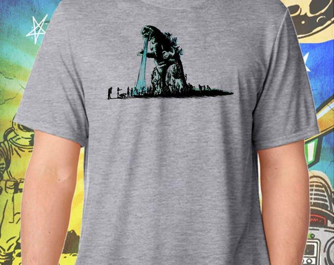 Godzilla Hates Walking Dead Zombies Gray Men's T-Shirt