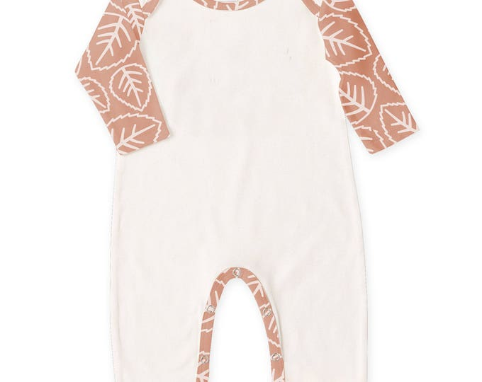 CLEARANCE! Newborn Baby Romper Ivory & Rust, Baby Girl Holiday Romper, Baby Girl Holiday Bodysuit, Rust Leaves, Tesababe