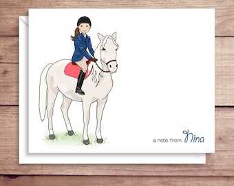 White Horse Note Cards - Folded Note Cards - Personalized Stationery - Girl and Horse Thank You Notes - Illustrated Note Cards