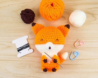 Fox Amigurumi Kit - Fox Crochet Kit - Fox DIY Kit - Fox Plush Kit - Stuffed Fox - Amigurumi Fox - Fox Stuffed Animal - Crochet Gift