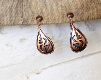 Vintage Copper Screw Back Clip on Earrings Southwestern Native American Design Black Teardrop Dangle 1970s Free Shipping