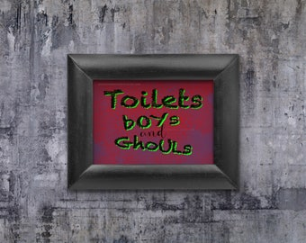 Bathroom Sign Halloween toilet monster | etsy