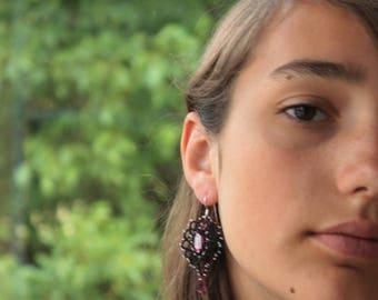 Black dangle drop earrings Lace earrings statement lace jewelry bohemian long earrings, victorian, unique, boho, gift for women, ice drop
