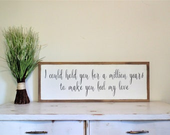To Make you Feel My Love Wood Sign Garth Brooks Wooden Sign Anniversary Gift Wedding Song Wall Art Wedding Gift Modern Framed Sign.