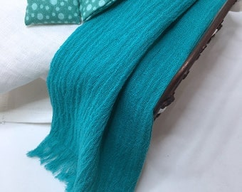 Shabby Chic Handmade Miniature Dollhouse Bed or Sofa Throw - Gauze Fabric with Fringe- Beautiful Greenish Turquoise