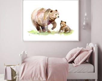 Brown Bear art mother and baby bear Watercolor painting - Giclee Print - Nursery Animal Painting - bear illustration baby animal