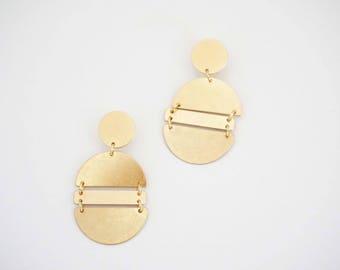 Matte Gold Geometric Post Stud Earrings