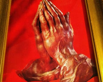 Vintage 1960's 3-D Praying Hands Picture