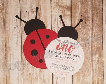 12 Lady Bug Birthday Invitations - Ladybug First Birthday Party - Lady Bug Baby Shower Invitations - Little Lady Birthday Invitations