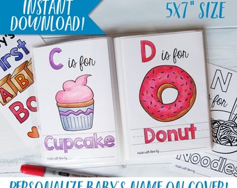 ABC Coloring Book Printable Personalized Books Nursery Decor Baby