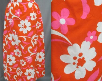 "Vintage 60s 70s MAXI SKIRT Bold Flower Power HIPPIE Print Cotton Waist: 34"""