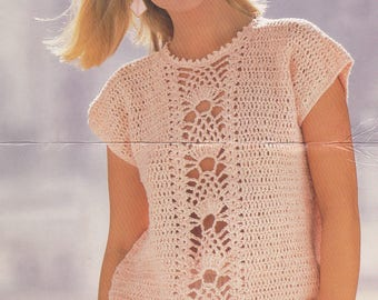 Womens crochet short sleeve top short sleeved lacy look pdf INSTANT download pattern only 30 - 40 inches