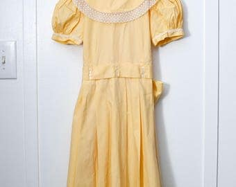 Girls 10:  Yellow Pleated Girl's Dress, Tatted Lace, Large Collar, by Individuality Frock