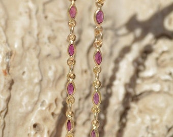 Gold earrings 18kt Italian Style with rubies marchise