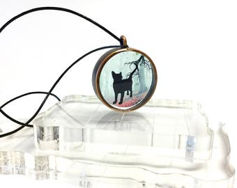 Cat silhouette pendant necklace, transparent jewelry, silhouette jewelry, cat lovers necklace, gift for her, resin jewelry